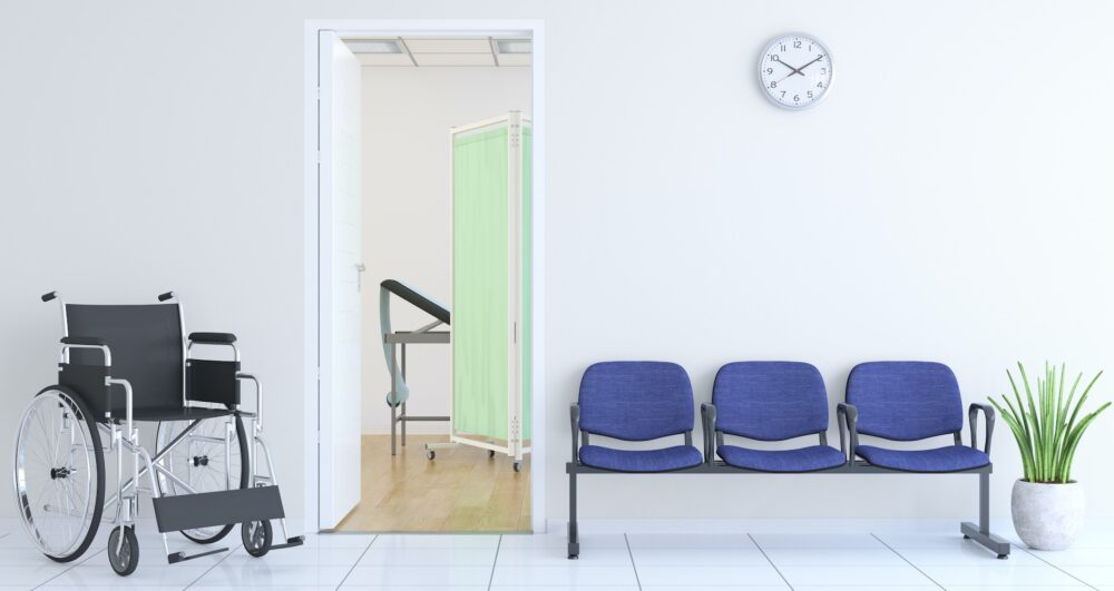 Waiting Bench and Wheelchair Outside Of Doctor's Room
